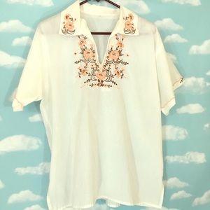 Embroidered floral short sleeved vintage shirt